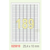 ETIKETT CÍMKE UNIVERZÁLIS 25,4x10 MM 189 DB/ÍV, 100 ÍV/CSOMAG