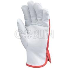 Euro Protection Sofõrkesztyû, színmarhabõr, piros pamut kézhát csuklógumival