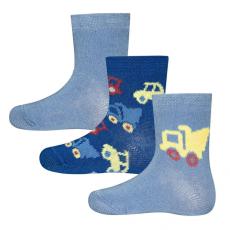EWERS fiú zokni 3 darabos szett, autók, 16-17, kék