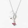 Ezüst bevonatos levél medálos nyaklánc rózsaszín kővel jwr-1288