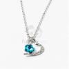 Ezüst bevonatos szív medálos nyaklánc kék köves jwr-1303