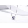Ezüst nyaklánc kerek kristályos medállal, kék
