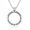 Ezüst nyaklánc nyitható, kör alakú medállal, zöld