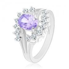 Ezüst színű gyűrű világos lila cirkónia, átlátszó ívek gyűrű