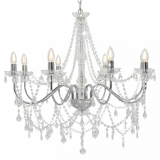 Ezüstszínű csillár gyöngyökkel és 8 db E14 izzófoglalattal világítás
