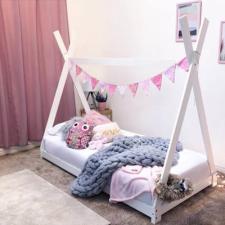 Fa gyerekágy keret, 70x140 cm fehér ágy és ágykellék