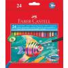 Faber-Castell Aquarell színes ceruza készlet, hatszögletû, ecsettel, FABER-CASTELL, 24 különbözõ szín