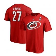 Fanatics Branded Carolina Hurricanes fĂŠrfi póló red #27 Justin Faulk Stack Logo Name & Number - S