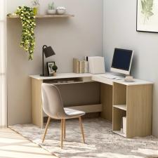 Fehér és sonoma forgácslap L-alakú íróasztal 120 x 140 x 75 cm íróasztal