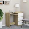 Fehér és sonoma-tölgy színű forgácslap íróasztal 90x45x76 cm