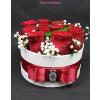 Fehér kicsi henger rózsa box vörös rózsákkal