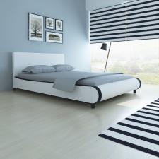 fehér műbőr ágy memóriahabos matraccal 140 x 200 cm ágy és ágykellék