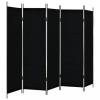 Fekete 5 paneles paraván 250 x 180 cm