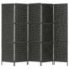 fekete 5 paneles vízijácint paraván 193 x 160 cm