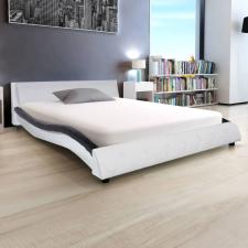 Fekete és fehér műbőr ágy matraccal 140 x 200 cm ágy és ágykellék