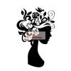 Fekete falmatrica - Virágos fej