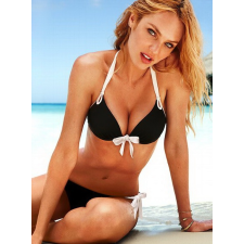 Fekete-fehér push up bikini-Large fürdőruha, bikini