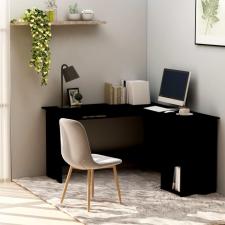 Fekete forgácslap L-alakú sarok-íróasztal 120 x 140 x 75 cm íróasztal