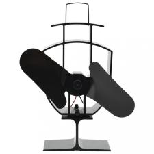 Fekete hővel meghajtott kétlapátos kandalló ventilátor hűtés, fűtés szerelvény