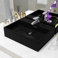 Fekete kerámia mosdó csaptelep furattal 51,5 x 38,5 x 15 cm csaptelep