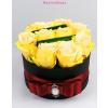Fekete kicsi henger rózsa box sárga rózsákkal
