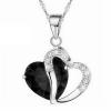 Fekete köves apró szív medálos nyaklánc