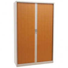 Fém iratszekrény, rolós, 4 polccal, 195 x 120 x 45 cm, szürke/cseresznye bútor