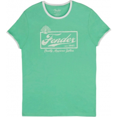 Fender Beer Label Ringer T Sea Foam Green White XL
