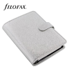"""FILOFAX Kalendárium, gyűrűs, betétlapokkal, personal méret, , """"Saffiano Metallic"""", ezüst"""