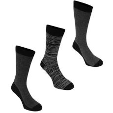 Firetrap zokni 3 pár/csomag, Fekete mintás - Firetrap 3 Pack Formal Socks