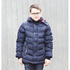 Fiú kabát - kék, piros  kapucni belsővel