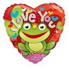 Fólia nagy lufi I love you szív alakú béka