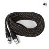 FrontStage XLR kábel, fekete-arany, 4 darabos készlet, 6 m, textilborítás, male-female