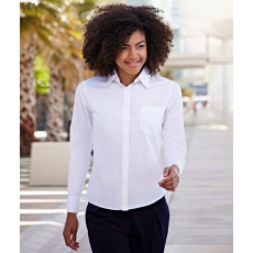 Fruit of the Loom FoL Lady-Fit Long Sleeve Poplin Shirt, fehér
