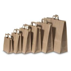 . Füles papírtasak, szalagfüles, barna, 26x12x35 cm