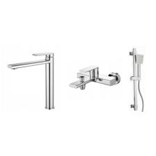 Gamma Rossa 3in1 magasított mosdó + kádtölő csaptelep + zuhanyszett - króm csaptelep