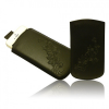 Garmin Samsung Galaxy S Advance méretű virágos slim bőr tok, fekete