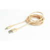 Gembird cotton braided micro USB cable 2.0 AM-MBM5P 1.8M; metal connectors;gold