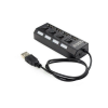 Gembird UHB-U2P4-02 4-port HUB with switch, USB 2.0 fekete HUB