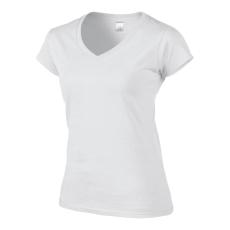 GILDAN 64V00 női rövidujjú és V-nyakú felső fehér színben