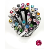 ". Golyóstoll, Crystals from SWAROVSKI®, fehér, 14cm""Elegante"", eper színű kristállyal"