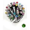 ". Golyóstoll, Crystals from SWAROVSKI®, fehér, 14cm""Elegante"", tavasz zöld kristállyal"