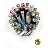"Golyóstoll, Crystals from SWAROVSKI®, fekete,  14cm""Elegante"", light topáz kristállyal"