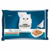 Gourmet Perle Gravy Delight állateledel macskáknak lazaccal és tonhallal szószban 4 x 85 g