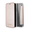 Guess iPhone X Studs and Sparlkes Snow Flakes oldalra nyíló tok, rózsaszín