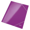 GUMIS mappa, 15 mm, karton, A4, lakkfényű, LEITZ Wow, lila