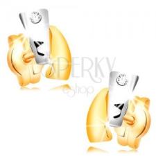 Gyémánt fülbevaló sárga 14K aranyból - kétszínű ívek, átlátszó briliáns fülbevaló
