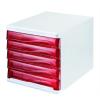 HELIT Irattároló, műanyag, 5 fiókos, HELIT, fehér/áttetsző piros