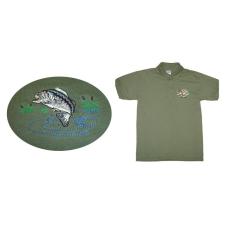 Hímzett galléros póló halas minta, zöld L (S-4XL) férfi póló