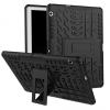 Huawei Mediapad T3 10.0, Műanyag hátlap védőtok, Defender, kitámasztóval és szilikon belsővel, autógumi minta, fekete